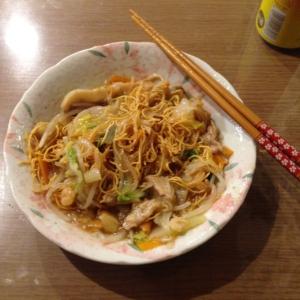 Sara udon, a specialty from Nagasaki, Japan