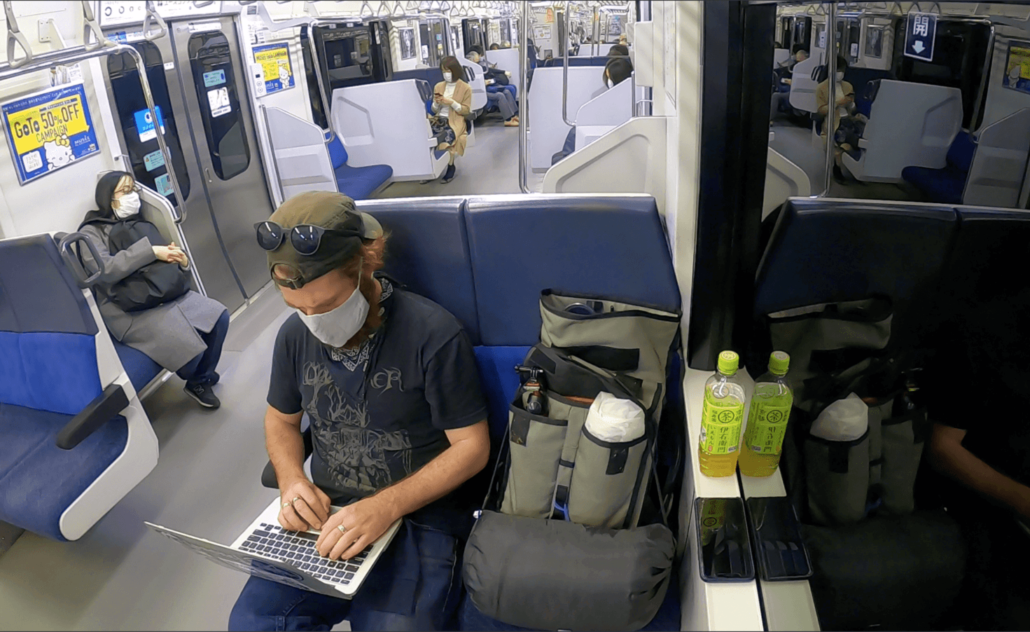Matt working on a train
