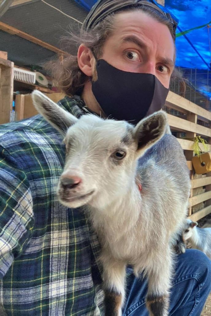 Matt with a goat in Saitama
