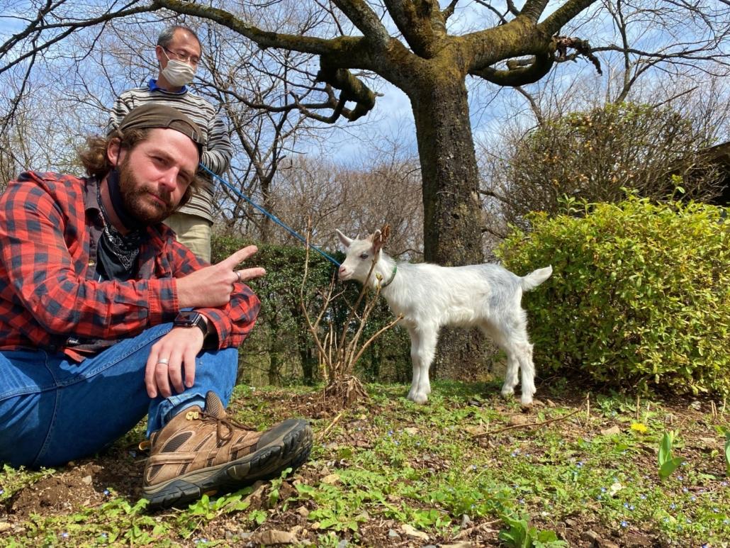 Matt with a goat in Tochigi